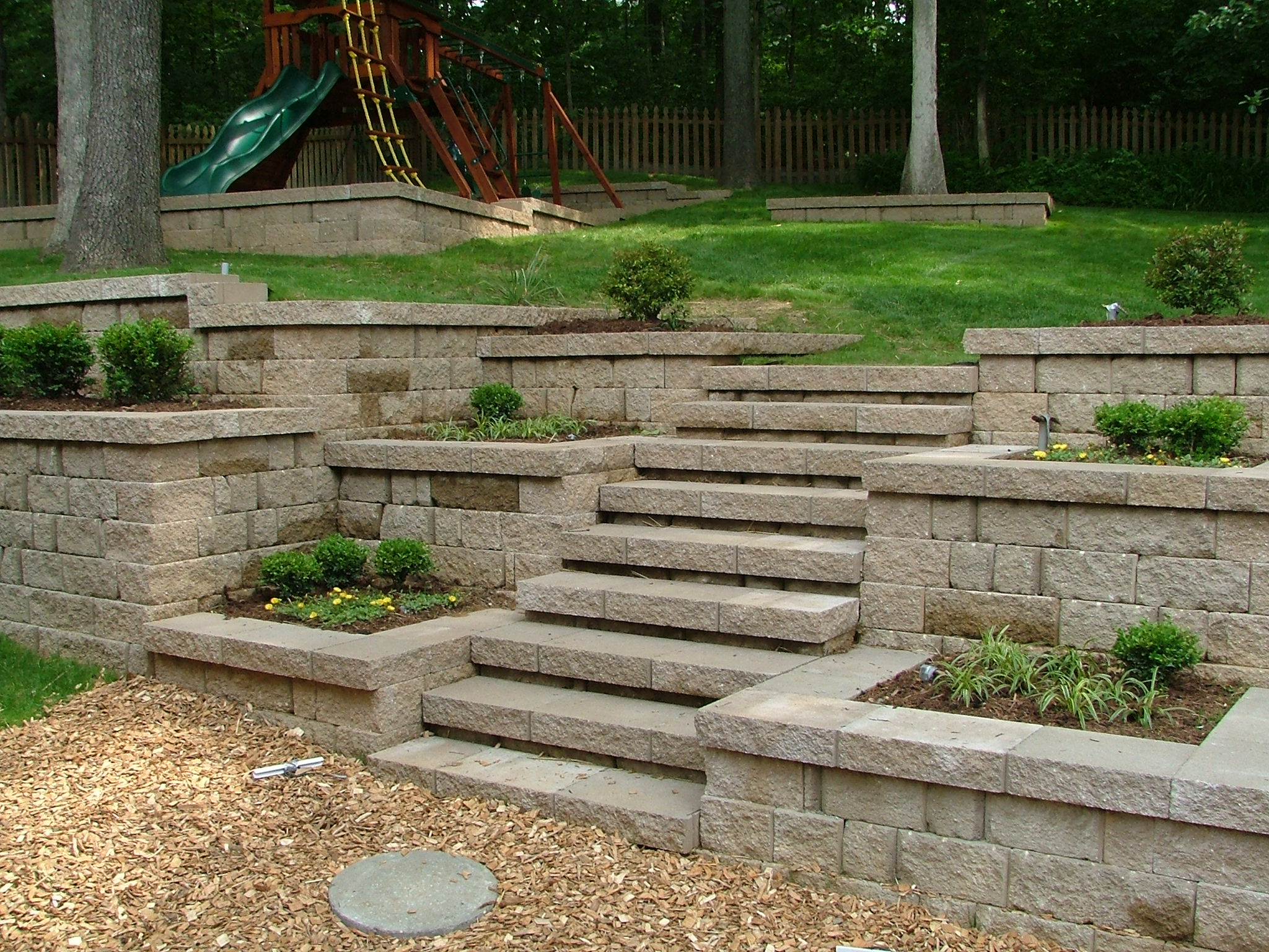 Landscaping Wall Steps : Pin wood retaining wall steps on