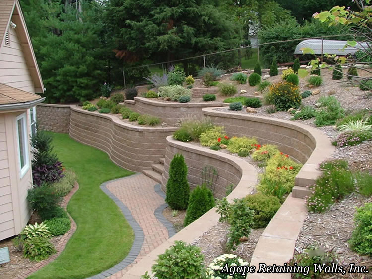 Agape retaining walls inc terrace photo album 2 - Backyard landscape designs ...
