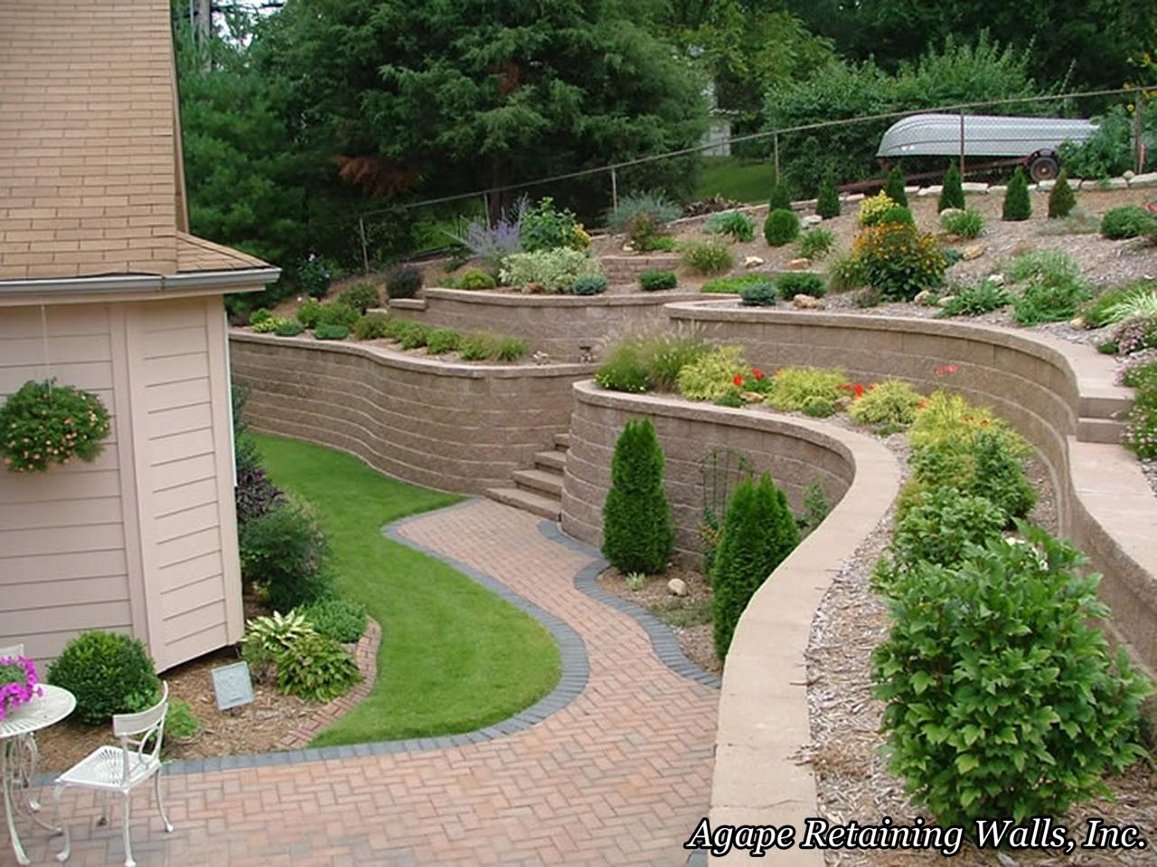 agape retaining walls, inc terrace photo album 2 - Retaining Wall Patio Design
