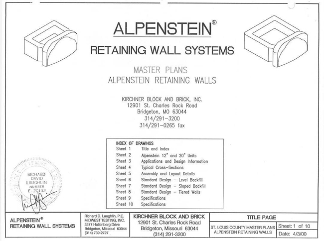 St  Louis County Alpenstein Green Retaining Wall System Master Plans